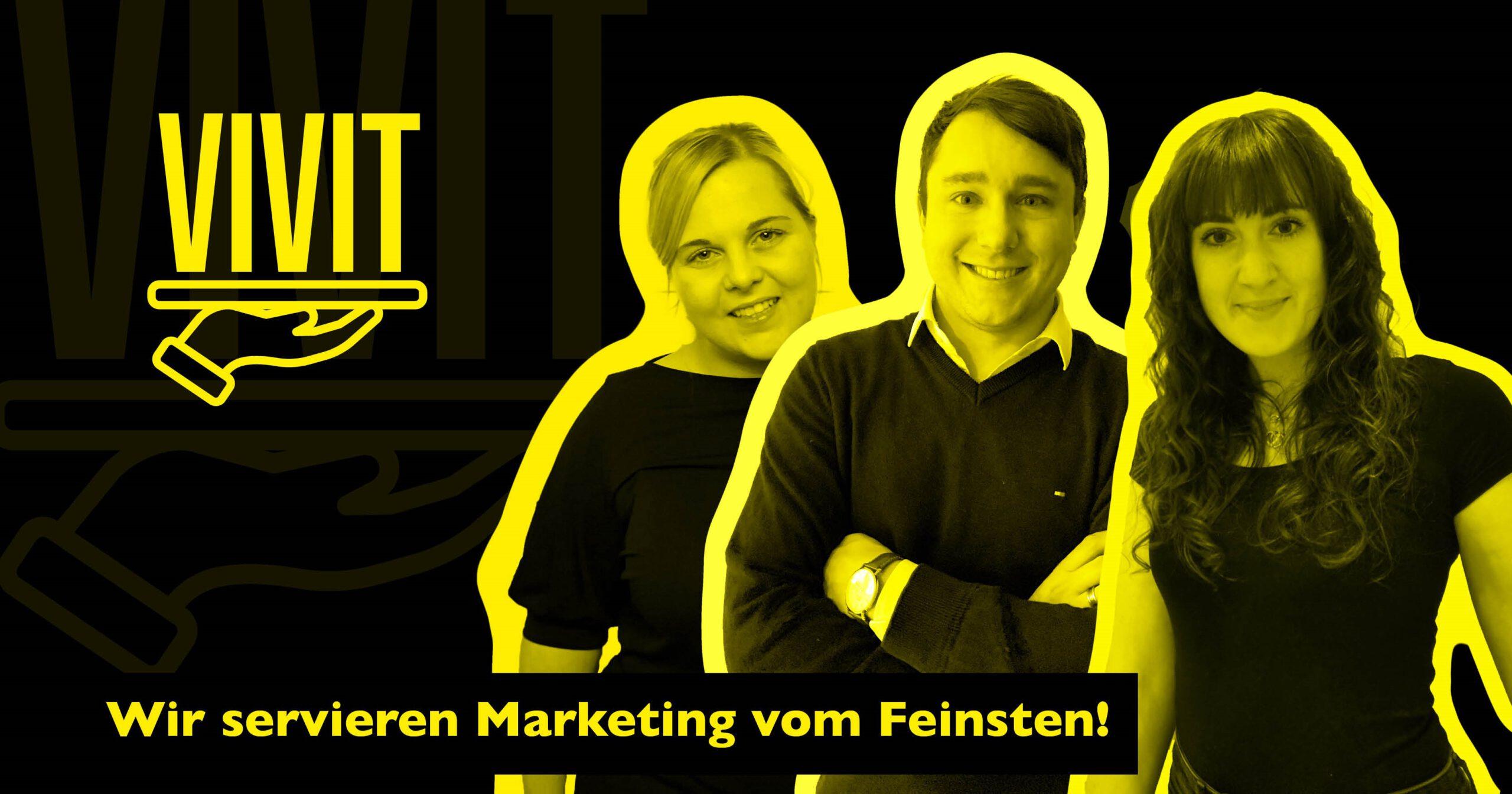 Agentur VIVIT präsentiert sich in diesem Bild mit dem Logo, dem Claim und den Teammitgliedern..